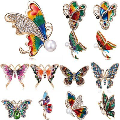 Fashion Women Enamel Crystal Butterfly Animal Insect Brooch Pin Costume Jewelry