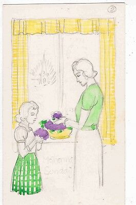 HAND DRAWN PC BY H.W. WHANSLAW - ROUGH SKETCH FOR MOTHERING SUNDAY -  1950s