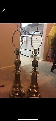 Vintage Pair of Large Brass Metal Lamps. Great condition.
