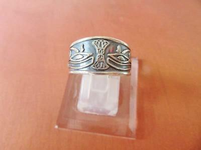 Antique Egyptian Silver Ring Band Adjustable of Ancient Eye of Horus....STAMPED