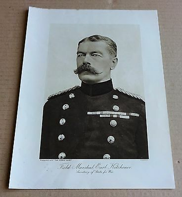 """Vintage Ww1  Print Of """"field Marshal Earl Kitchener""""  Secretary Of State For War"""