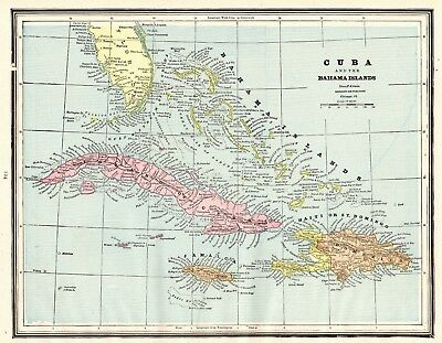 1891 Antique Map of CUBA Bahamas Map Jamaica Map Collector Gift 5565