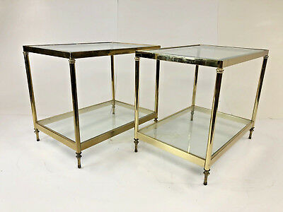 HOLLYWOOD REGENCY GLASS SIDE TABLE PAIR Vintage Brass End Mid - Two tier glass side table