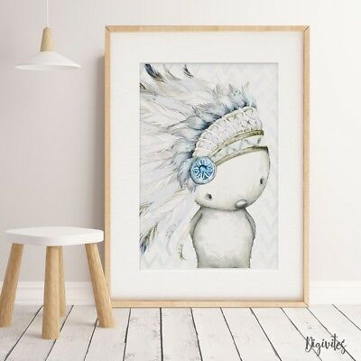 Baby, Boy Nursery Wall Art Prints Boho Woodland Tribal Animals little chief