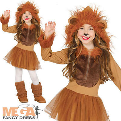 Lion Girls Fancy Dress Jungle Zoo Animal World Book Day Kids Halloween Costume