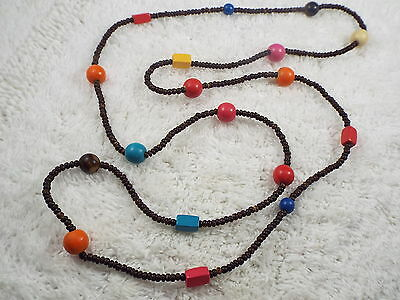 Colorful Wood Bead Necklace (C7)