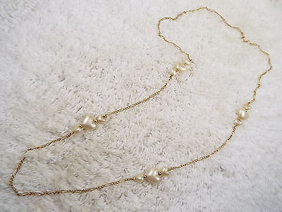 Goldtone Chain White Heart Bead Necklace (A55)