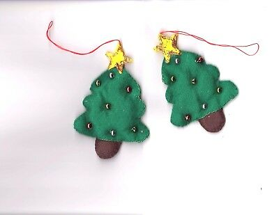 Christmas Decorations  FELT Christmas Trees with Beads  Handmade