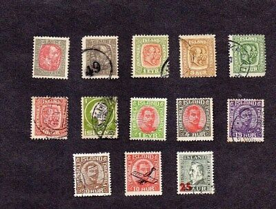 ICELAND.BALANCE OF A COLLECTION.13xDIFF'T EARLY DEFINITIVE STAMPS.G.U/M.H.MIX.