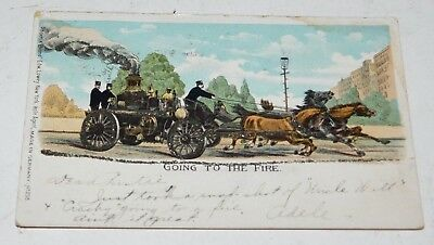 "Vintage 1906 ""Going to the Fire"" Firefighting Horse Drawn Fire Pumper Postcard"