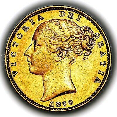1852 Queen Victoria Great Britain London Mint Gold Sovereign Coin