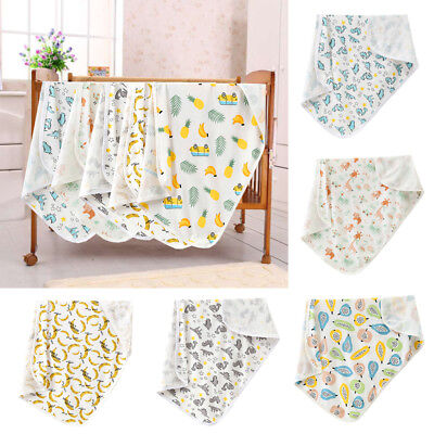 Props Cotton Cartoon Animal Print Newborn Swaddle Baby Blanket Muslin Wrap