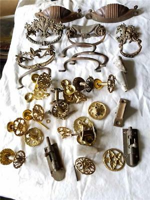 lot vintage and repro dresser drawer pulls knobs brass metal other