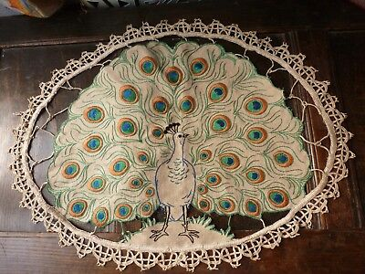 Antique French Linen Hand Embroidered Peacock Panel
