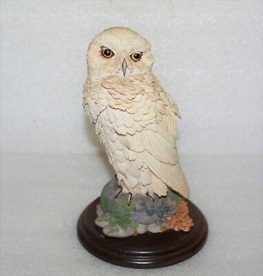 Vintage Country Artists Large Snowy Owl Ca399 Sculpture On Wooden Plinth