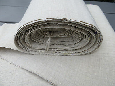 """Antique  Handwoven Natural   Linen Fabric 27  """"by 8.75Yards Unused"""