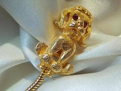 Cute Gold Tone Poodle Puppy Dog Red Rhinestone Sweater Clip Vintage 60's 33M8