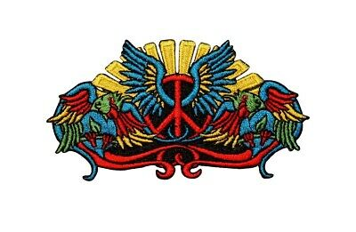 Peace Sign Wings Patch Birds Hippie Symbol Embroidered Iron On Badge Applique