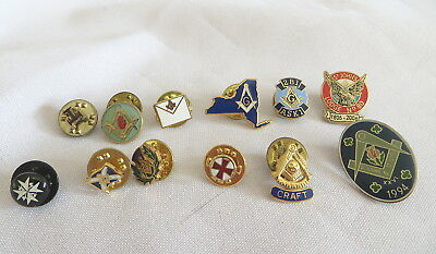 12 Masonic Lapel Pin Badges - All Different (20A)