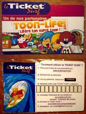 Ticket Surf – Toon-Life – Neuf – Mode D'emploi