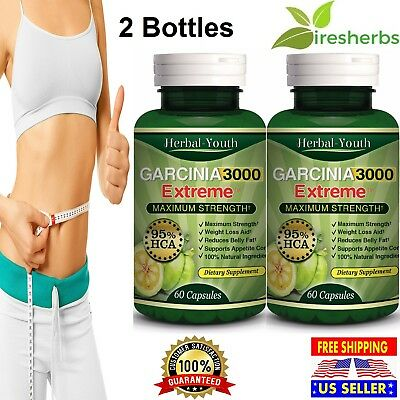 2 x BOTTLES - 3000mg Daily GARCINIA CAMBOGIA 95% HCA Capsules Weight Loss DIET