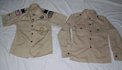 2 Boy Scout Shirts Youth Medium 10-12 Short & Long Sleeves  Made In Usa