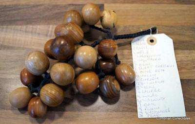 Lovely Retro Bunch of Wooden Grapes Made from 20 Different Types of Wood