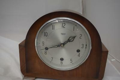 Large Vintage Smiths Wooden Mantle Clock With Pendulum