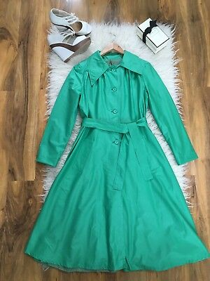 Vintage 1970s Jade Green Princess Wide Lapel Lightweight Raincoat Mac 12 - 14