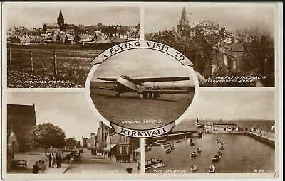 Biplane and town views on mint 'Flying Visit to Kirkwall' real photo postcard