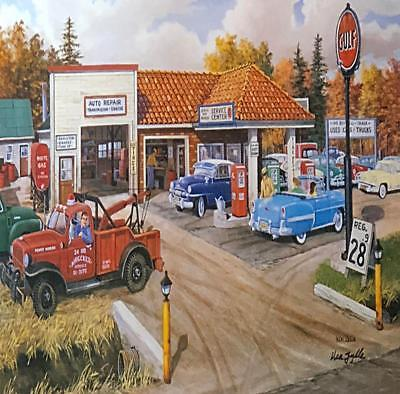 FULL SERVICE by Ken Zylla Gas Station Classic Cars Tow Truck 11x15 FRAMED PRINT