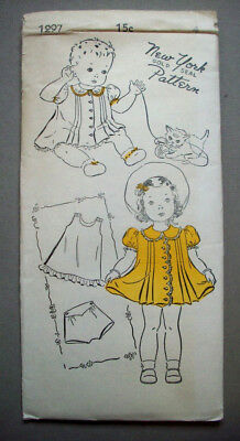 40's Toddlers girls button front dress slip panties pattern 1297 size 4 unused