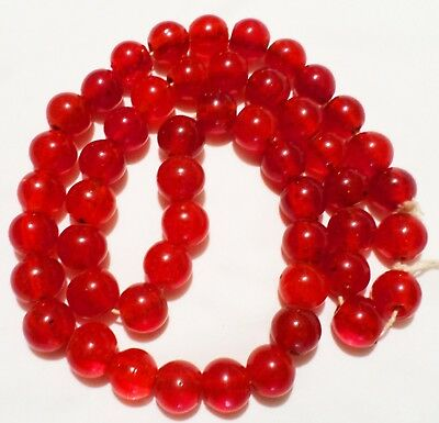 Chinese Ming Early Qing Red Glass Wound Trade Court Beads To Tibet