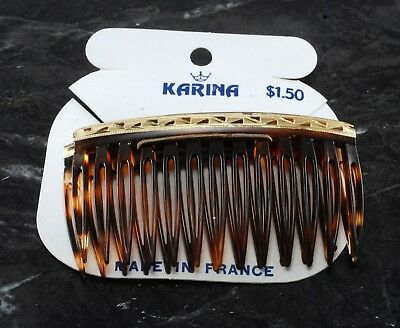 Vintage Karina Hair Comb Pair Tortoise Plastic Side Comb Made France Accessory V