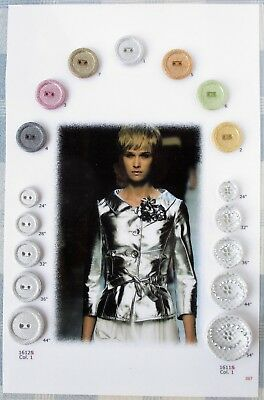 Vintage, One-of-a Kind, Sample Card of 17 Plastic Buttons by Italian Mfg. Sandra