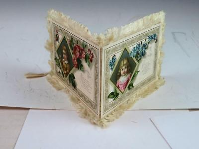Antique Silk Fringed 1880's Lithograph Christmas New Year Card 4 Cards In One