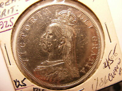 Great Britain 1887, Large Silver Double Florin, KM#765, XF Details