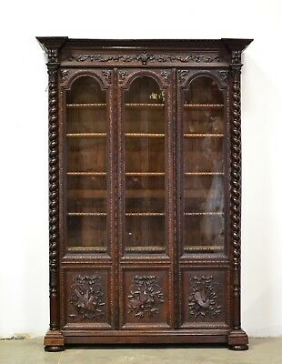 Large Antique French Renaissance Barley Twist Bookcase 3 Doors