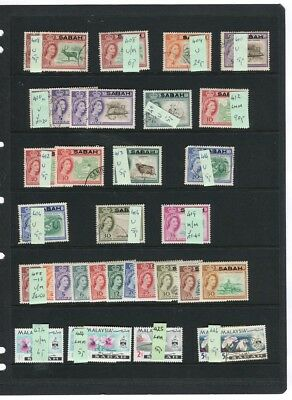 NORTH BORNEO; SABAH 1950s-60s fine early Mint & used LOT on page