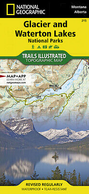 National Geographic Trails Illustrated Montana Glacier Waterton Lakes NP Map 215