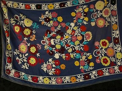 Antique Suzani  Uzbek Old Vintage Hand Embroidered Wall Decor Tablecloth