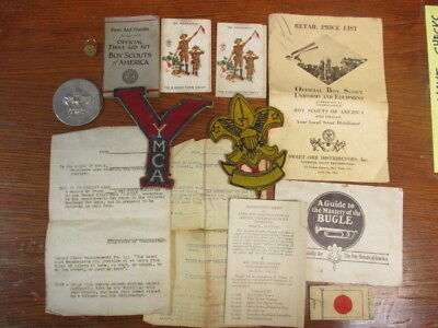 Boy Scouts lot from the 1930's Baltimore MD area 1st aid kit bugle instr button
