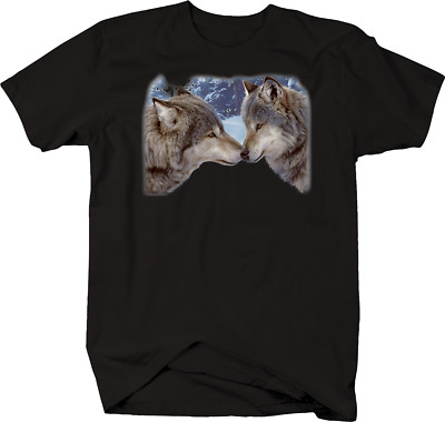 Two Gray Wolfs Budding Heads Together Forest Day Sunlight Tshirt