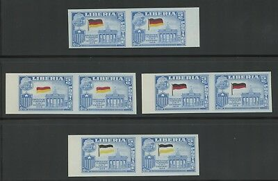 Liberia stamps, #369, Flags, Errors, missing colors on flag, imperf pairs
