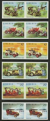 Liberia stamps, #647-52, Classic Automobiles, Imperforate pairs, VF_NH