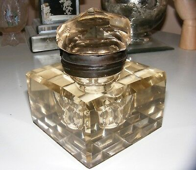 ** Antique Vintage VICTORIAN * Cut Glass * Champagne Crystal * INKWELL **