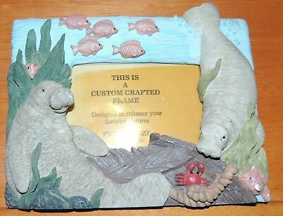 """Custom Crafted MANATEE PICTURE FRAME Holds 3 1/2"""" x 5"""" photo's"""
