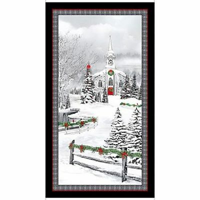 """Home for the Holidays Panel cotton quilt fabric Quilting Treasure BTP 24x44"""""""
