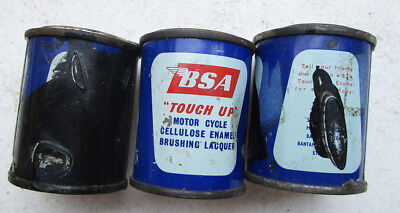 BSA VINTAGE MOTORCYCLE PAINT CAN TIN 1960s TOUCH UP BLACK ENAMEL GOLD STAR FLASH