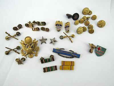 Lot WWII Brigadier General Pins & Ribbons - Named Soldier